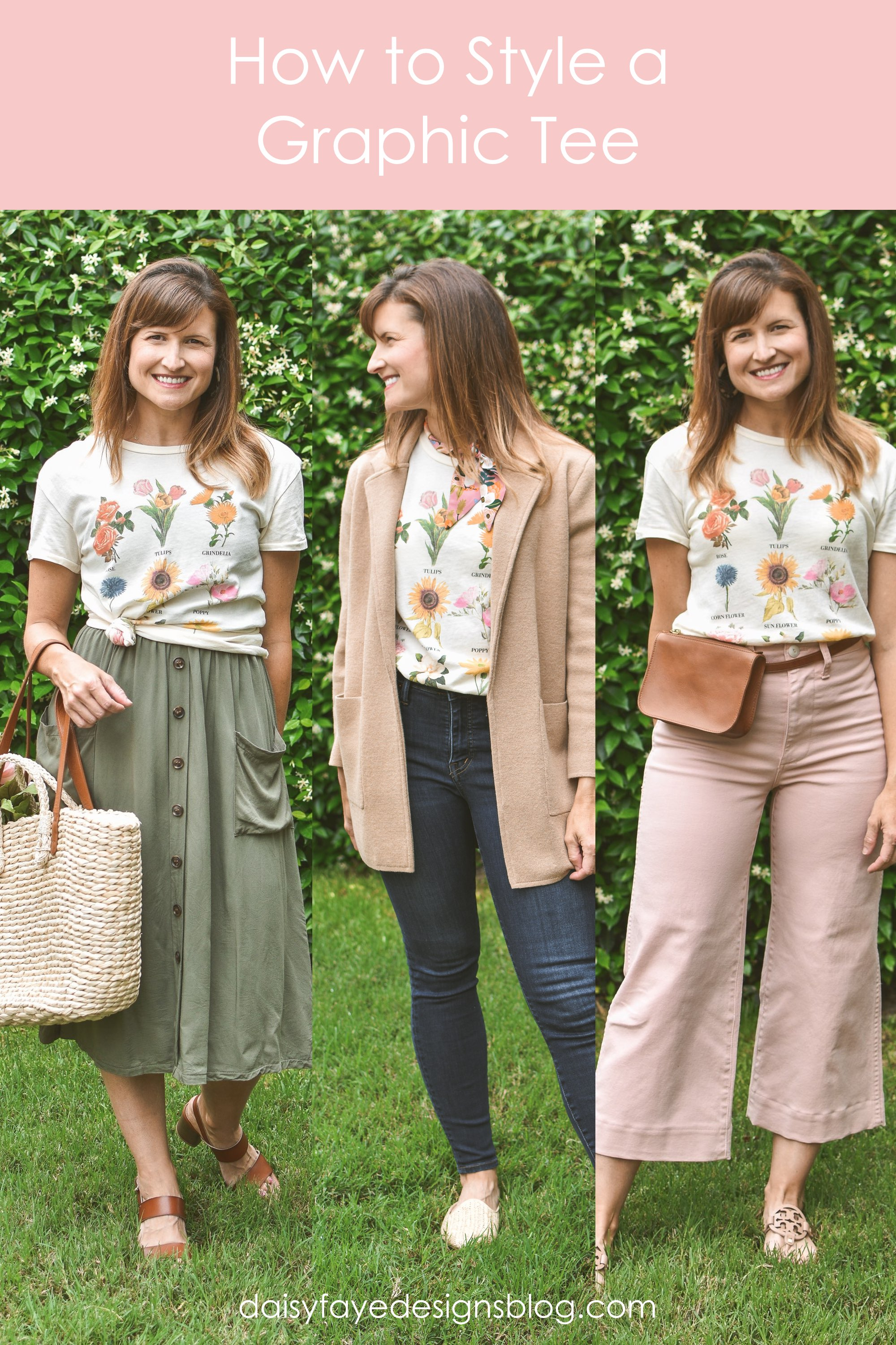 How to style a graphic tee, 3 images of kim wearing a floral graphic tee with pink Madewell wide leg pants, with J Crew camel sweater blazer and jeans, and with an olive skirt.